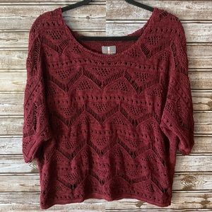 I Jeans by Buffalo Crotchet Red Sweater Size 8